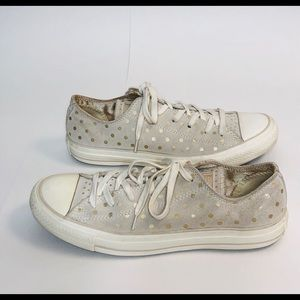 Converse Tan Suede & Gold Dot All Stars Sneakers
